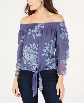 INC International Concepts I.n.c. Printed Off-The-Shoulder Tiered-Sleeve Blouse