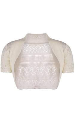 Forever Womens Short Sleeves Knitted Bolero Crochet Cardigan Shrug Top (SM = 6-8, )