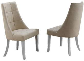 BEIGE Pilaster Designs Lexie Upholstered Vinyl Kitchen Dinette Dining Parsons Side Chairs (Set Of Two)