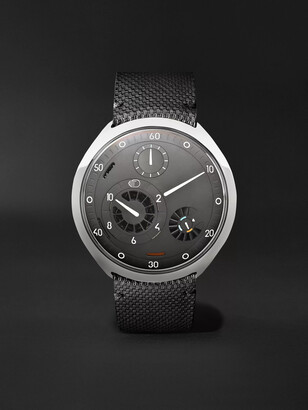 Ressence - Type 2G Mechanical 45mm Titanium and Leather Watch with Smart Crown Technology - Men - Gray