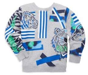 Kenzo Toddler's, Little Boy's & Boy's Multi-Icon Tiger-Print Sweatshirt