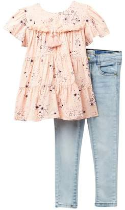 Jessica Simpson Ruffled Sleeves Top & Jeans Set (Toddler & Little Girls)