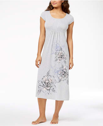 Alfani Floral-Print Ruched-Waist Knit Nightgown, Created for Macy's