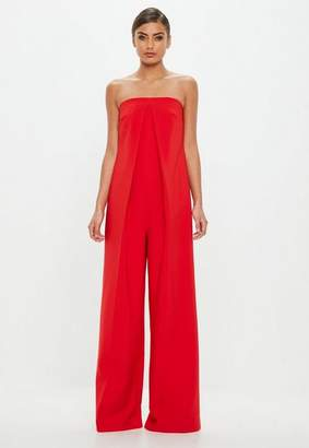 Missguided Red Bandeau Front Pleat Romper