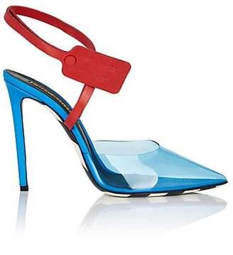 Off-White Women's Zip-Tie-Strap PVC & Leather Pumps - Blue