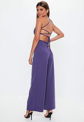 Missguided Purple Strappy Back Wide Leg Romper