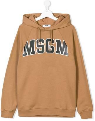 MSGM TEEN logo printed hoodie