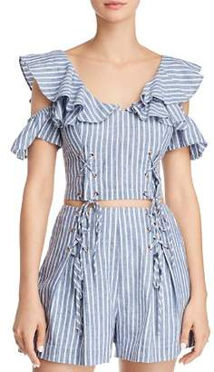 GUESS Hermosa Cold-Shoulder Lace-Up Cropped Top