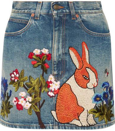 Gucci - Appliquéd Denim Mini Skirt - Mid denim