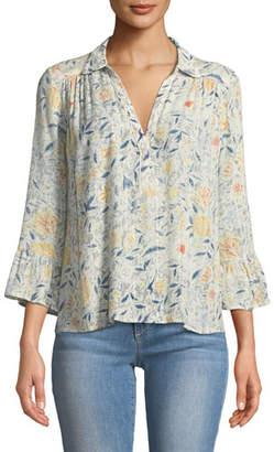 BA&SH Isykde Floral-Print V-Neck Top