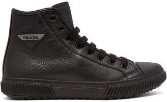Prada Logo-patch high-top leather sneakers