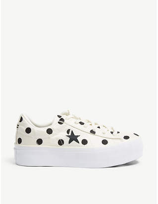 Converse One Star polka-dot flatform trainers