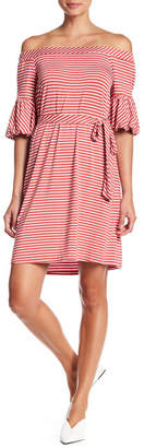 Spense Off the Shoulder Striped Dress