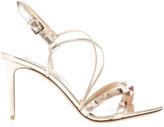 Valentino GARAVANI Heeled Sandals Rockstud Sandals Slingback In Genuine Laminated Leather With Micro Studs