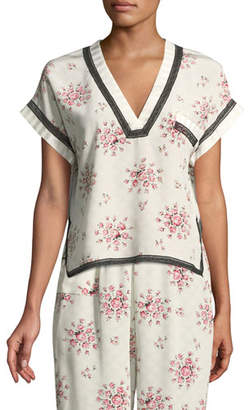 Morgan Lane Yeva Tea Rose Silk Pajama Top