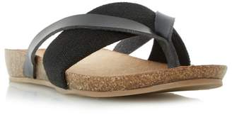 Head Over Heels by Dune - Black 'Liliana' Elastic Strap Toe Post Flat Sandals