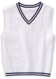 Baby's, Toddler's, Little Boy's & Boy's White Cable Sweater Vest