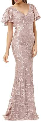 Carmen Marc Valvo Embroidered Flutter Sleeve Gown