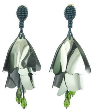 Oscar de la Renta Fern Large Impatiens Flower Drop Earrings