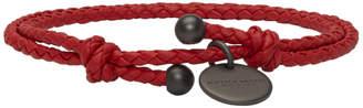 Bottega Veneta Red Intrecciato Double Strand Bracelet