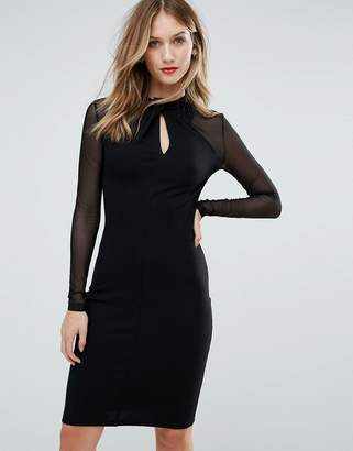 French Connection Tanya Tuck Mesh Sleeved Dress
