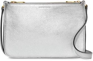 Burberry Triple Zip Metallic Leather Crossbody Bag