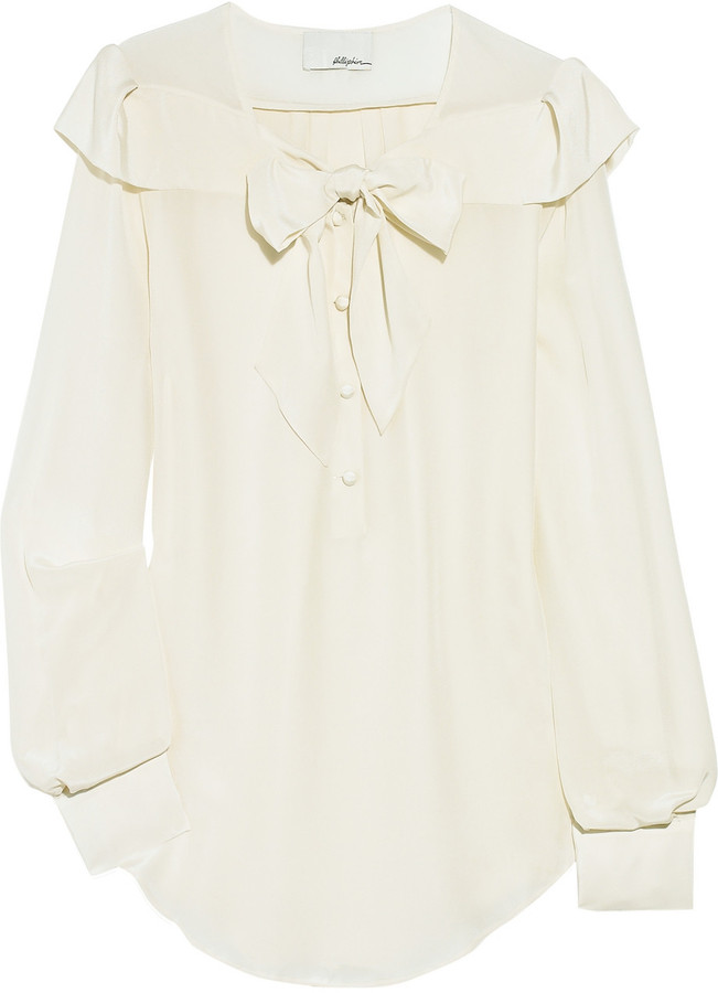 3.1 Phillip Lim Sash-collar silk-chiffon blouse