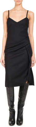 Neiman Marcus Pascal Millet Wool-Cashmere Ruched Slip Dress, Black