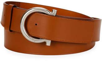 Salvatore Ferragamo Men's Gancio Logo Leather Belt