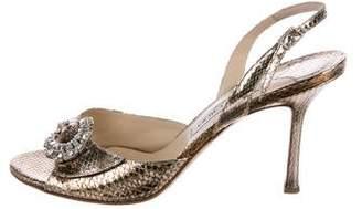 Jimmy Choo Embellished Snakeskin Sandals