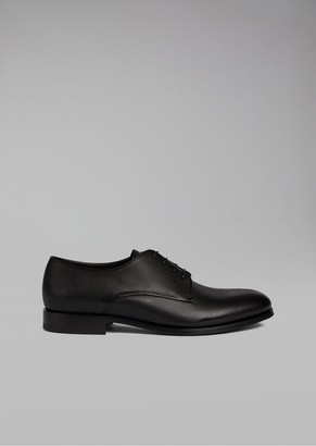 Giorgio Armani Calfskin Leather Derby With Textured Effect