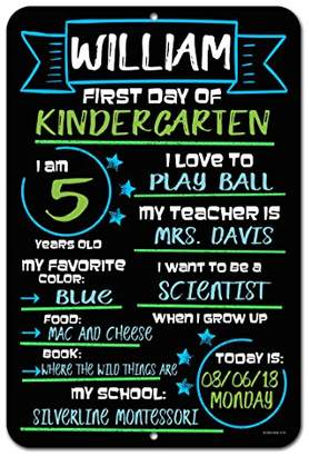 DAY Birger et Mikkelsen Honey Dew Gifts Large First of School Blue and Green Chalkboard Style Photo Prop Tin Sign 12 x 18 inch - Reusable Easy Clean Back to School