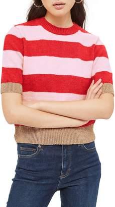Topshop Metallic Stripe Crop Sweater