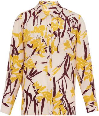Whistles Lilly Print Silk Pocket Blouse