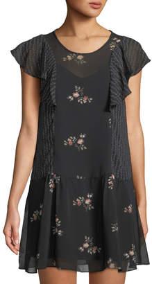 BCBGeneration Ruffled Floral Illusion Dress
