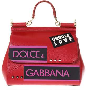 Dolce & Gabbana Sicily Medium Red Leather Hand Bag With Patches