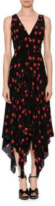 Alexander McQueen V-Neck Petal-Print Silk Crepe de Chine Dress with Handkerchief Hem