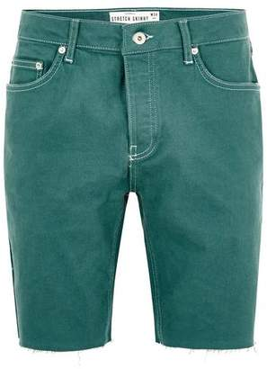 Topman Mens Green Denim Stretch Skinny Shorts
