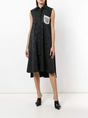 Thom Browne Flannel Shirt Dress With Pearl Swag Pocket