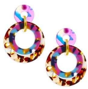 Lele Sadoughi Rio Banded Hoop Drop Earrings