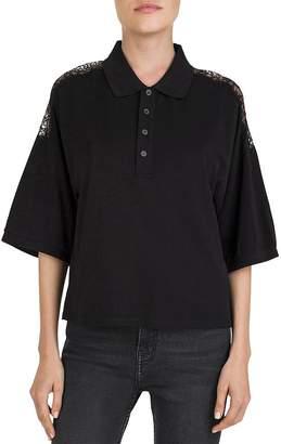 The Kooples Lace-Inset Piqué Polo Shirt
