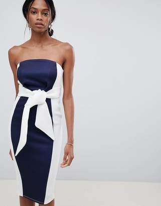 e306dbc08354 Asos Design DESIGN Color Block Bandeau Scuba Midi Dress