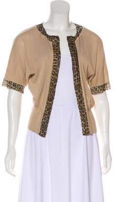 Giambattista Valli Silk Open-Front Cardigan Tan Silk Open-Front Cardigan
