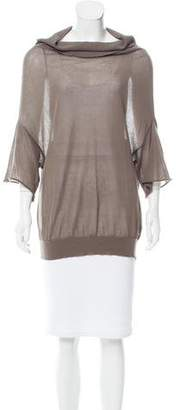 Brunello Cucinelli Semi-Sheer Cowl Neck Sweater