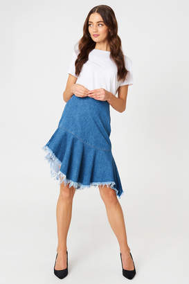 NA-KD Na Kd Raw Hem Midi Denim Skirt