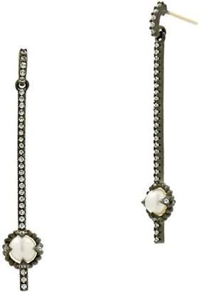 Freida Rothman Cultured Freshwater Pearl Textured Linear Drop Earrings