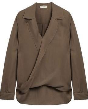L'Agence Rita Wrap-Effect Washed-Silk Blouse