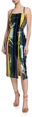 Elliatt Influencer Multi-Sequin Stripe Sleeveless Cocktail Dress