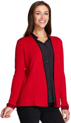 Izod Women's Striped-Trim Open Front Cardigan