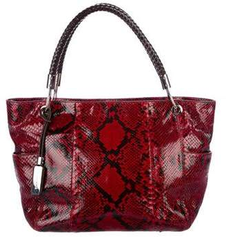 Michael Kors Leather-Trimmed Python Tote